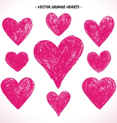 Grunge hearts set vector