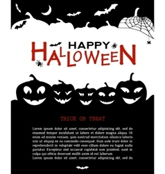 Halloween design pumpkins and houses black and vector