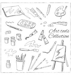 Hand drawn art tools set Isolated vector image