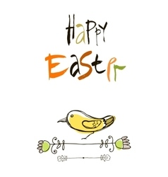 Happy easter card design calligraphic text vector