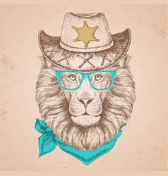 hipster animal lion hand drawing muzzle of lion vector image vector image