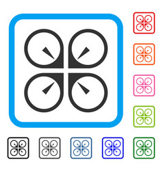 Hover drone framed icon vector