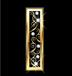I gold letter with swirly ornaments vector image
