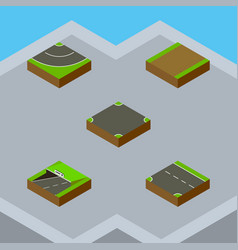 Isometric way set of road downward crossroad and vector