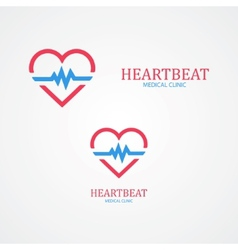 Logo combination of a heart and pulse vector image vector image