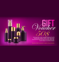 luxury cosmetic bottle voucher vector image vector image