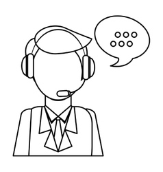 Man headphone bubble icon vector