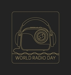 Mono line logo world radio day vector