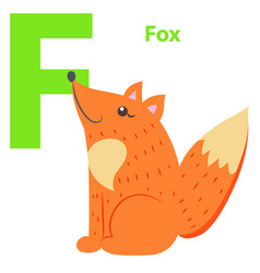 new babies alphabet with letter f fox flat design vector image vector image