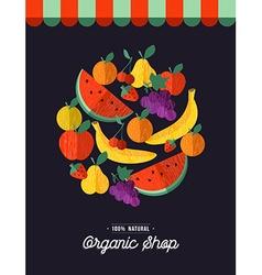 Organic food shop design with fruit vector