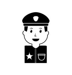 portrait policeman smiling with hat uniform vector image