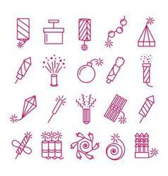Pyrotechnic icons set celebration festival vector