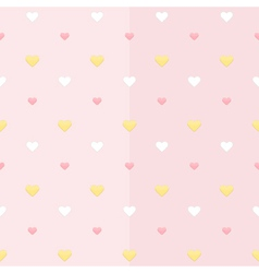 Seamless pattern with white yellow and pink hearts vector image vector image