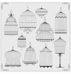 Set of silhouettes of birdcages vector image vector image