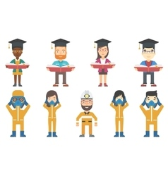 set of with graduates vector image