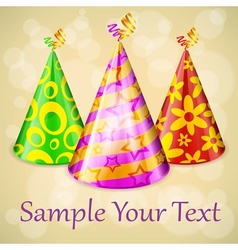 Three party hats text vector image