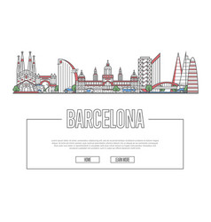 Travel barcelona poster in linear style vector