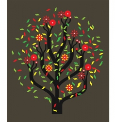 tree with colour leaves vector image