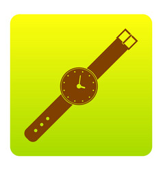 Watch sign brown icon at vector