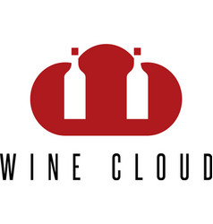 Wine bottle with cloud design template vector