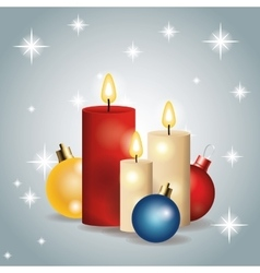 Candles spheres merry christmas icon vector