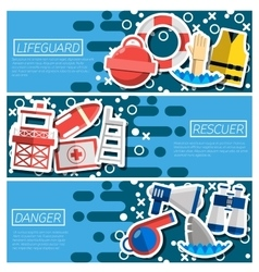 Set of horizontal banners about lifeguard vector