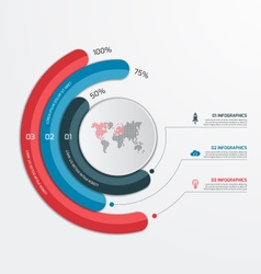 Circle infographic template with 3 processes vector