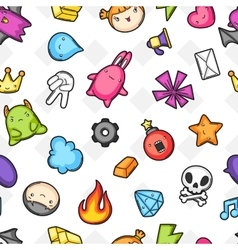 Game kawaii seamless pattern Cute gaming design vector image
