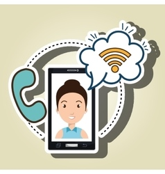 woman smartphone wifi and telephone vector image