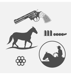 wild west icons set vector image