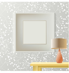 Printed grey wallpaper with empty frame for vector