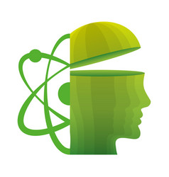 head think green molecule atom vector image