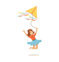 Happy girl running with her flying kite kids vector