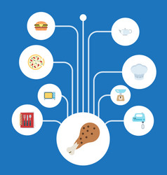 Flat icons fried poultry pepperoni teapot and vector