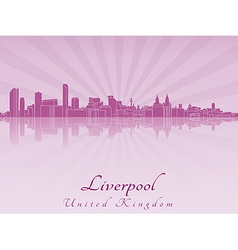 Liverpool skyline in purple radiant orchid vector