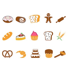 Color bakery icons set vector