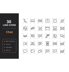 30 chat line icons vector image vector image