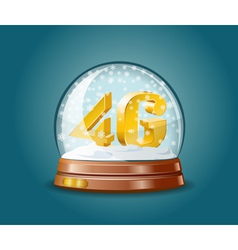 4G mobile communications standard in snow globe vector image