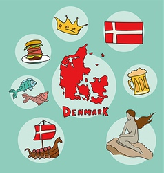 Set of national profile of the denmark vector