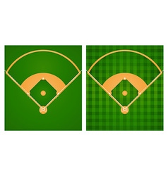 Baseball field in two lawn designs vector