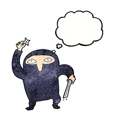 Cartoon ninja with thought bubble vector