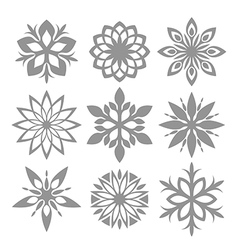 Snowflake icon set isolated on white vector