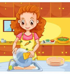 Woman cleaning dishes in the kitchen vector