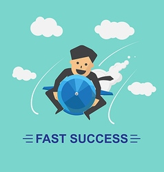 Businessman rocket fast success business vector