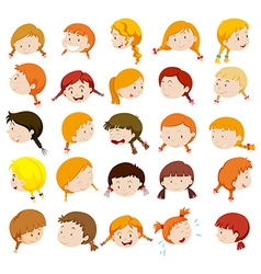 Girl head with facial expressions vector