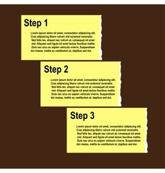 Torn paper progress option or steps background vector