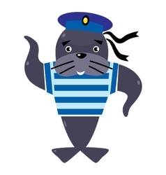 Funny seal sailor vector