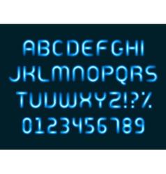 Neon light alphabet letters font vector