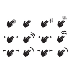 Touch gestures icons set with hands tap rotate vector image
