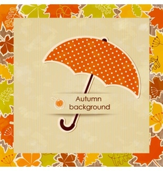 Autumn background with umbrella vector image
